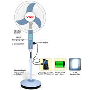 VOX Multipurpose Rechargeable Pedestal Fan with USB, Emergency Light & 3800mAh Power Bank