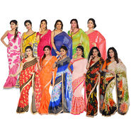 Pack of 12 Assorted Georgette Sarees with Designer Lace by Pakhi (12GBS1)