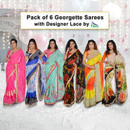 Pack of 6 Georgette Sarees with Designer Lace by Pakhi (6GBS2)