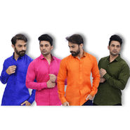 Set of 4 Linen Look Shirts for Men (P4L1)