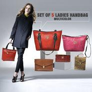 Set of 5 Ladies Handbags - Multicolor