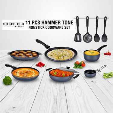 11 Pcs Hammer Tone Nonstick Cookware Set