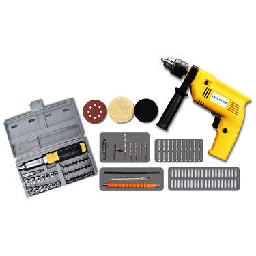 112 Pcs Drill Machine with Magic Arm & Screw Driver Set