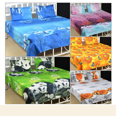 3D Double Bedsheet with 2 Pillow Covers - Pick Any 1