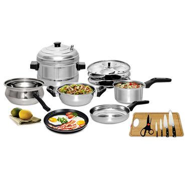7 Pcs Induction Friendly Cookware Set + Free Knife Set