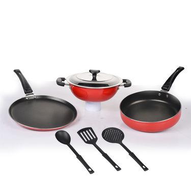 7 Pcs Superhit Coloured Non-Stick Cookware Set