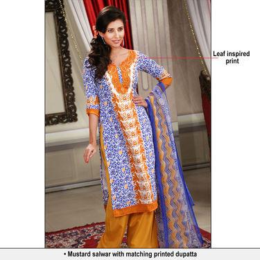 Heena Set of 7 Mughal Inspired Printed Dress Material by Pakhi (7PDM3)