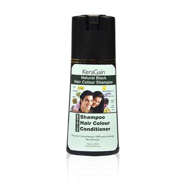 KeraGain Instant Natural Black Hair Color Shampoo with 10-in-1 Hair Serum Spray