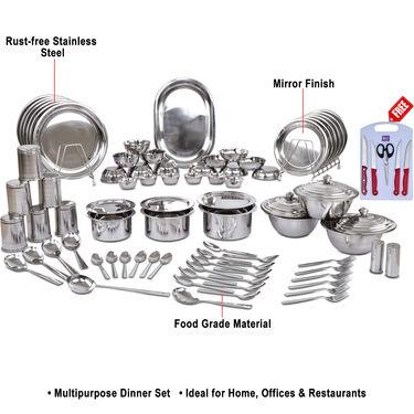 Kitchen Queen 81 Pcs Stainless Steel Dinner Set + Free Knife Set