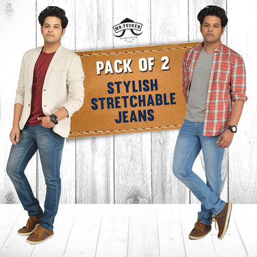 Pack of 2 Stylish Stretchable Jeans by Mr. Tusker (MS3)