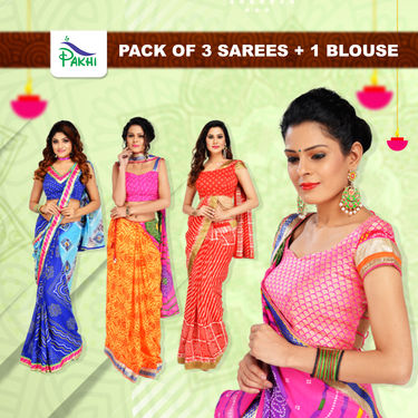 Pack of 3 Sarees + 1 Blouse by Pakhi (3S+1B)