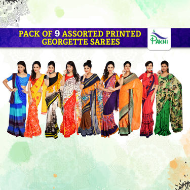 Pack of 9 Assorted Printed Georgette Sarees by Pakhi (9G11)