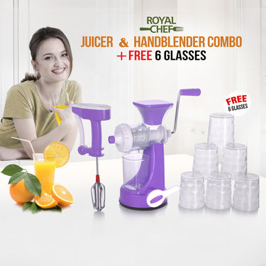 Royal Chef Juicer & Handblender Combo + Free 6 Glasses