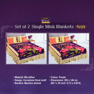 Set of 2 Mink Blankets - Purple