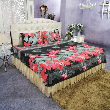 Set of 5 Blossoms 3D Bedsheets with 10 Pillow Covers (5BS36)