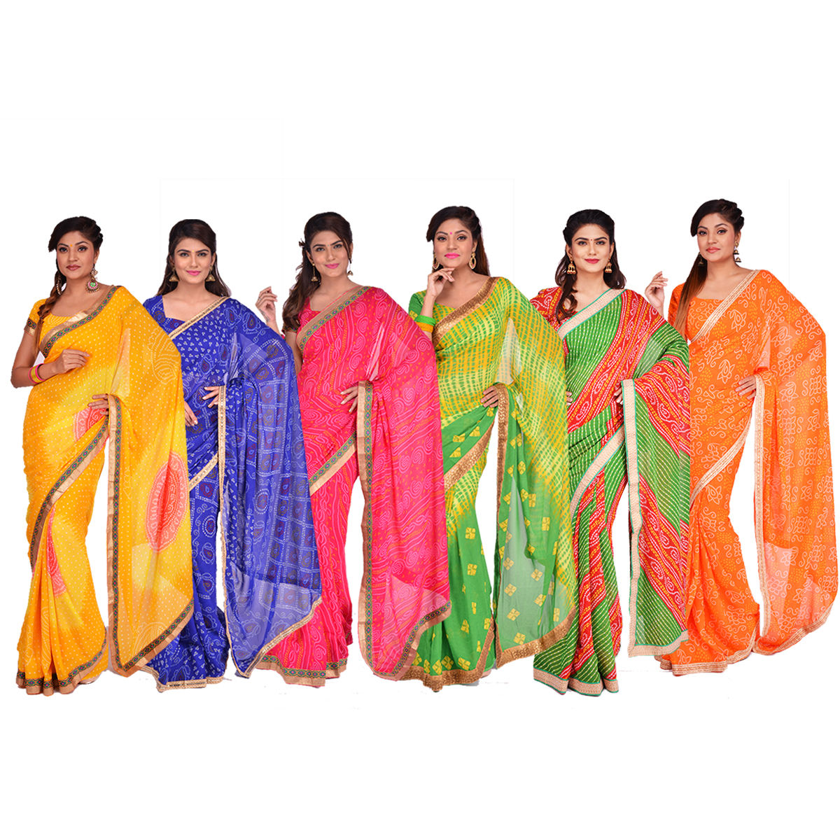 806871a6aa Buy Pack of 6 Assorted Bandhani Sarees with Designer Lace by Pakhi (6GBS5)  Online at Best Price in India on Naaptol.com